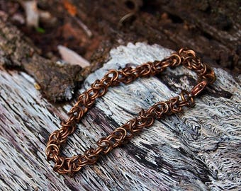 Bronze Byzantine Chain Maille Bracelet (medium rings)