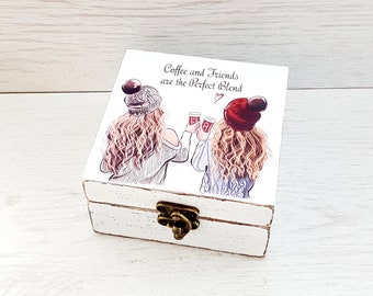 Birthday Gift For Best Friend Female Coffee And Friends Are The Perfect Blend Friendship Jewelry Box Women Remembrance