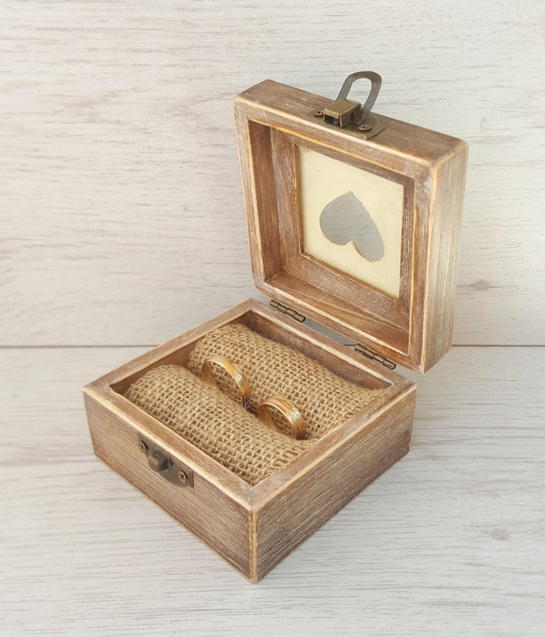 Personalized proposal wooden ring box Ring bearer pillow with burlap Rustic wedding ring box Wooden ring holder for wedding ceremony