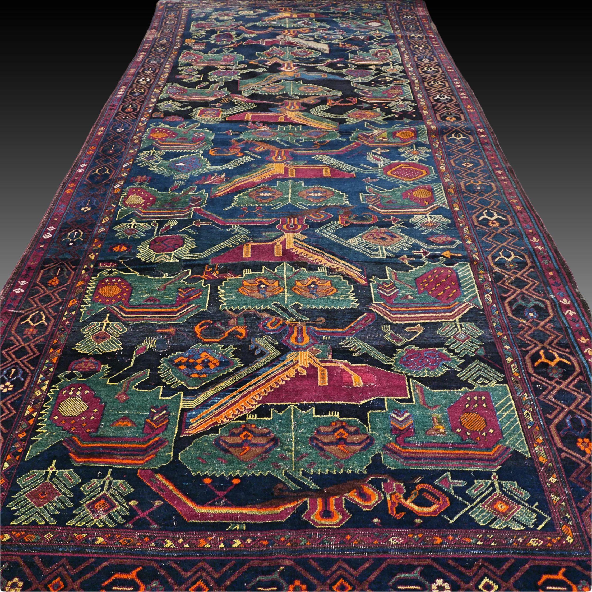 Antique Caucasian Karabagh Kazak Rug Oriental Rug Large Rug Boho Rug Antique Rug Collectors Rug 14 1 X 6 4 Ft 430 X 195 Cm