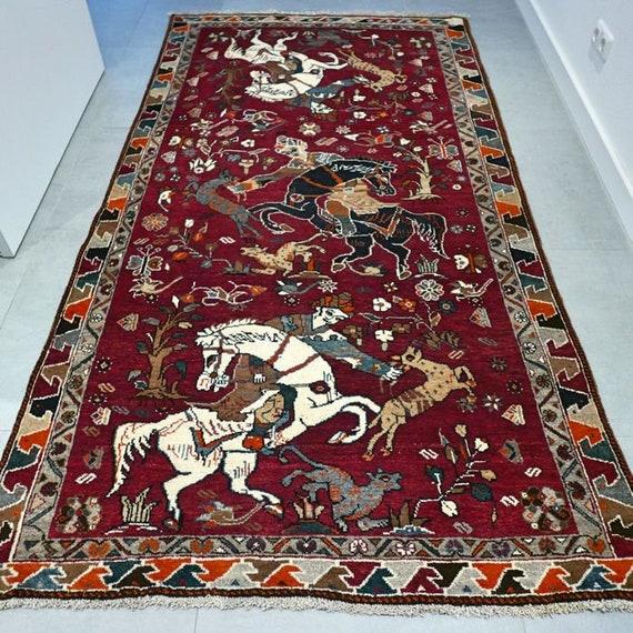 FREE SHIPPING Hunting Rug Tile Rug Persian Rug Oriental