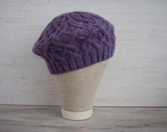 f3e6d5d4 Hand knitted women beret wool alpaca autumn winter purple/Wool alpaca women hat  beret/purple beret/beret knit hat
