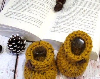 Crocheted newborn baby slippers, Baby shoes, Crochet baby booties, Crocheted baby socks