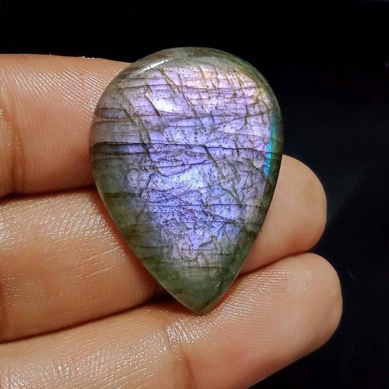 AAA+++ High Quality,Purple Fire Labradorite,36X27X4.5MM Size 32 Carat Weight Natural Purple Labradorite Loose Pear Shape Cabochon