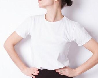 White basic women's t-shirt, babylook tee, classic t