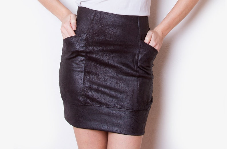 f48fe049c521 Mini skirt / Black vegan leather skirt with pockets / Fitted | Etsy