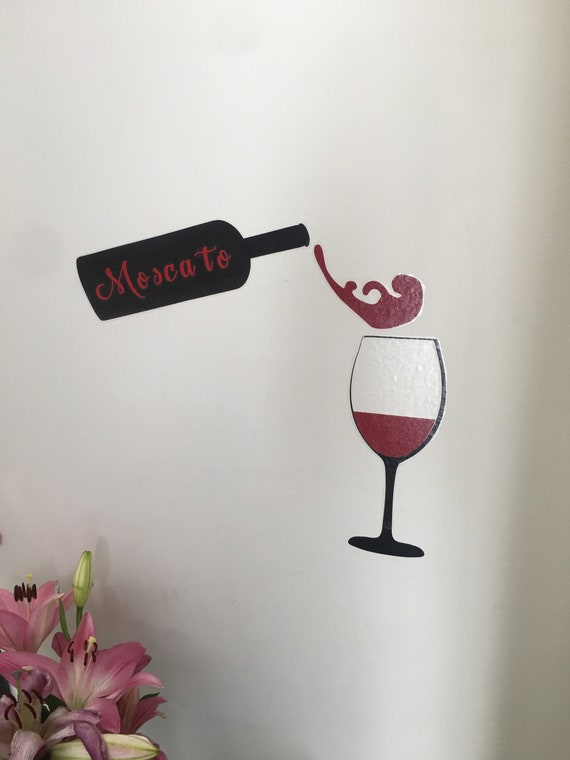 Red Wine Drops Decal Black Bottle Decal Wine Glass Decal Wall Etsy