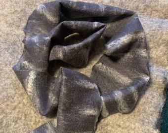 Silk Merino Scarf, Grey Felt Scarf