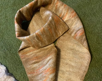 Silk Merino Scarf, Brownish Felted Scarf, Mixed Brown Scarf