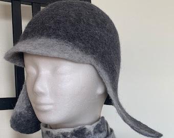 Felted Trapper Hat, Grey Winter Hat, Earflap Beanie, Sauna Hat