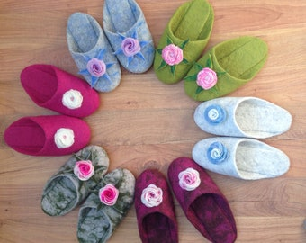 felted slippers, natural wool slippers, handmade house shoes, footwear