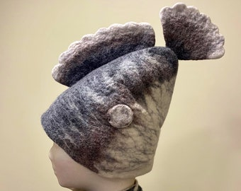 Felted Fish Hat, Winter Hat, Sauna Hat, Hot Tub Hat
