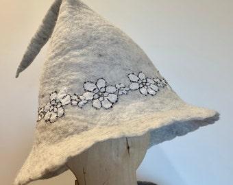Grey Witch  Hat, Felted Fairy Hat, Wizard Hat, Sauna Hat