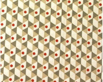 Seventies - beige, taupe, red patterned cotton