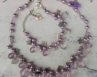 "Exclusive set of handmade jewelry ""Purple shine"""