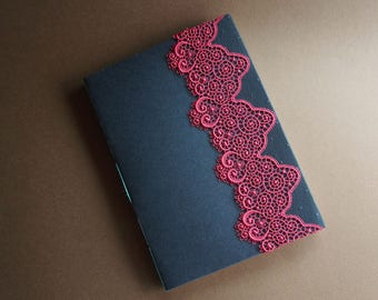 Handmade longstitch-bound notebook with lace