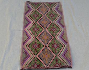 vintage rug. türkish small rug. oushak rug. small rug. anatolian rug. small rug.kilim rug. Oushak rug. 2.4x1.3feet!