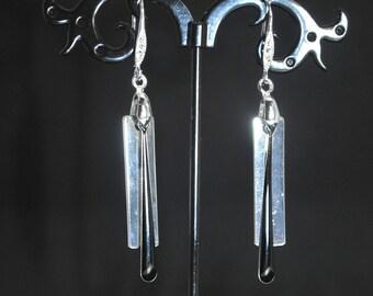 Earrings modern silver and black.
