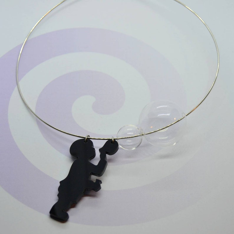 black necklace necklace to give away for Mother/'s Day in light steel bubble baby necklace baby necklace Choker necklace