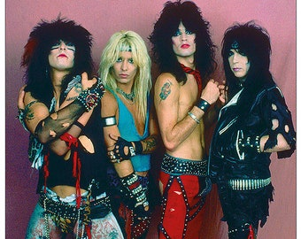 Motley Crue Full Colour 1984   33 x 23 inches approx  Vintage Rare Uk Poster and Wooden Poster Hanging Kit  Included
