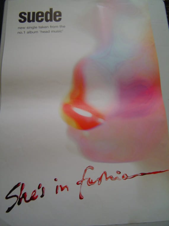 Suede She's In Fashion 30 x 20 inches approx Rare Uk Shop Poster