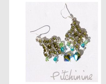 Bohemian style, romantic green and blue Swarovski crystals, Sterling Silver hook