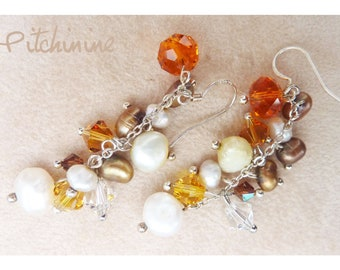 Earrings - sterling silver - Swarovski crystals and pearls