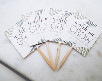 watch me grow favor tags; plants; party decoration; customize; succulent tag; baby shower favor tag; wedding favour tags