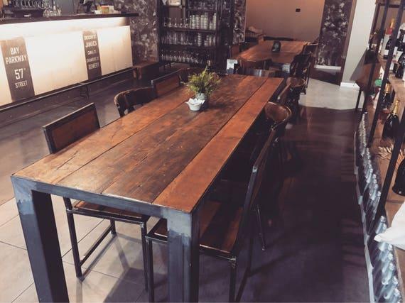 Tavolo Da Pranzo Industriale : Tavolo da pranzo in legno industriale rustico vintage etsy
