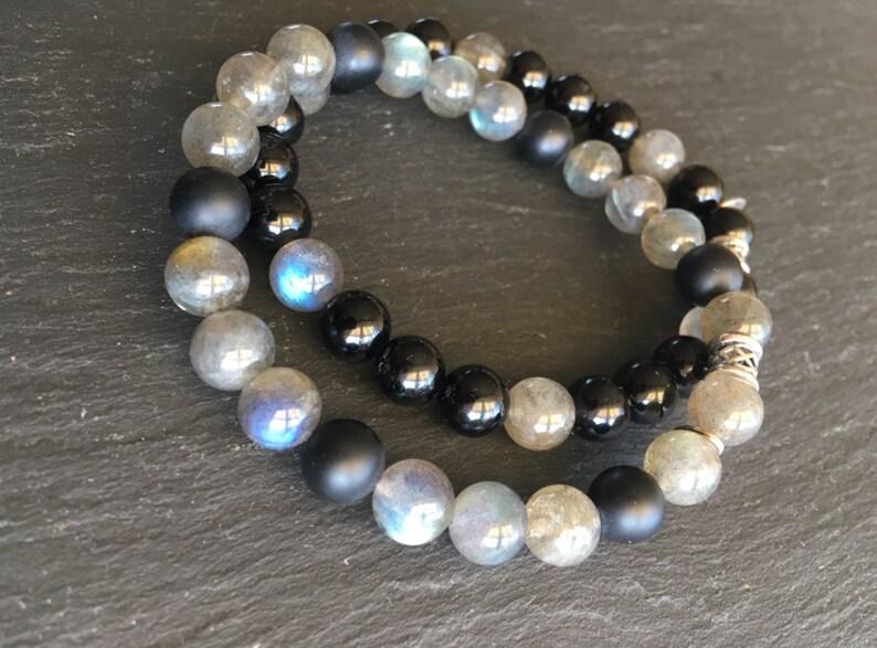 Labradorite and matte black onyx lucky man bracelet