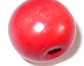 Wood 1 bead ball 18mm BR08 Red Red
