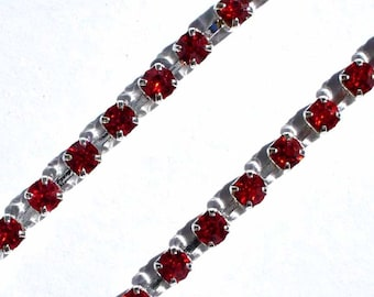 1 M silver plated red rhinestone ACCH290 Chaîne