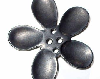 1 Black 50mm orchid flower button