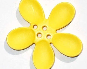 2 buttons 30mm yellow Orchid flowers
