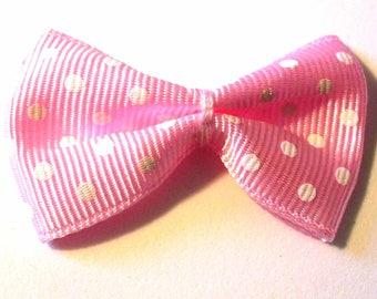 5 bowties medium pink pale polka dots 40x25mm ACA191Tur