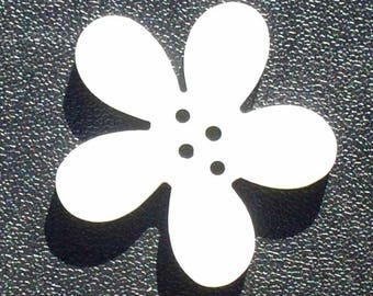2 buttons 40mm white Orchid flowers