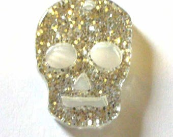 1 skull 25x18mm silver sequins