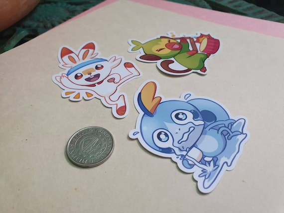 Pokemon Sword and Shield Grookey Scorbunny and Sobble stickers