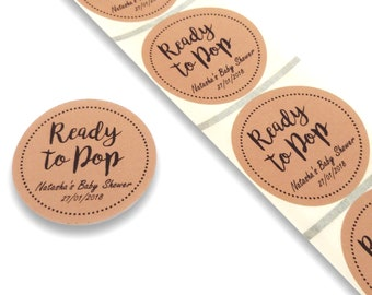 50 X 45mm Round Brown Ready To Pop Baby Shower Personalised Labels Stickers