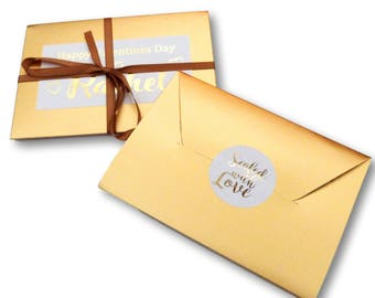 Gold valentines day poem personalised love letter in card envelope and gold ribbon