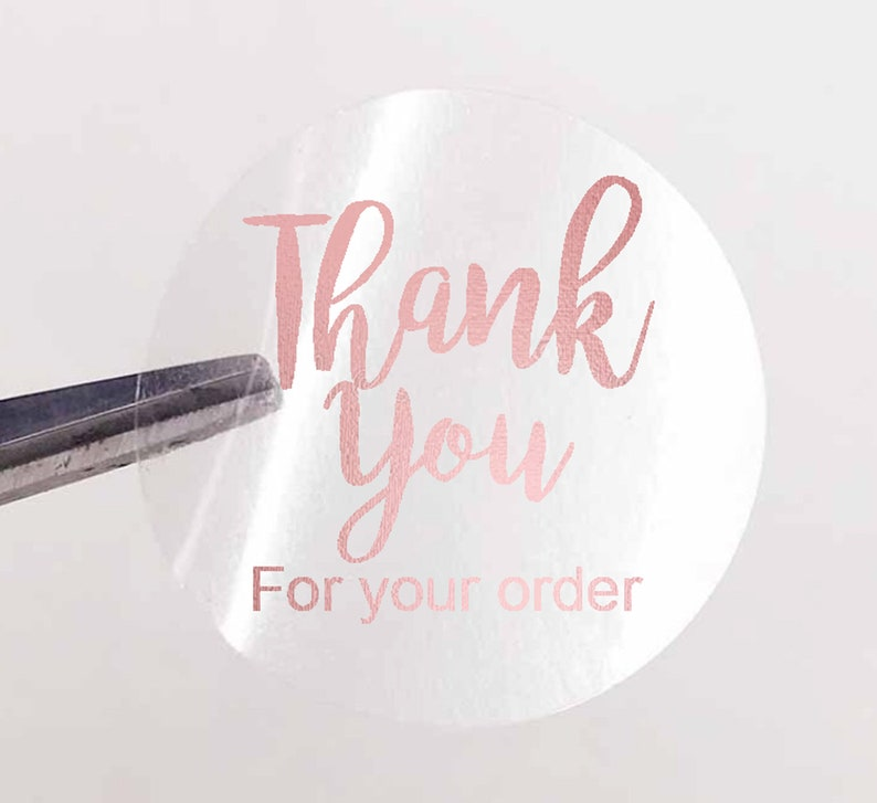25mm ROUND CLEAR THANK YOU LABELS ROSE GOLD FOIL SHINY STICKERS BUSINESS