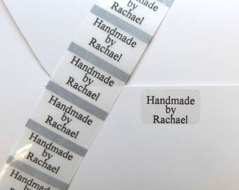 100 x small clear personalised handmade by labels- seals 22 x 14mm