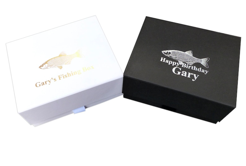 Personalised Fishing gift box socks hip flask fisherman christmas box notebook