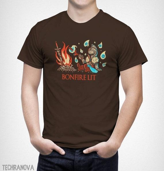 8e290fb1 Cute Lit by the Bonfire D Souls T-Shirt // Knight bonfire | Etsy