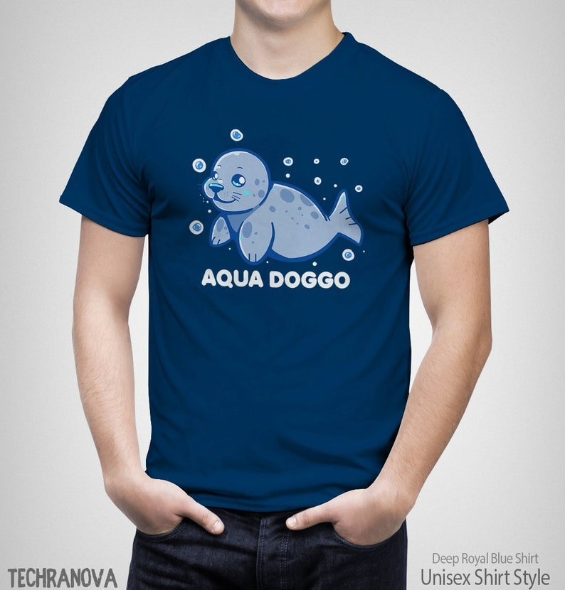 Aqua Doggo - Cute seal animal T-Shirt // Funny cute animal alternative  names // Animal names // Sea life art // Cartoon seal T-Shirt
