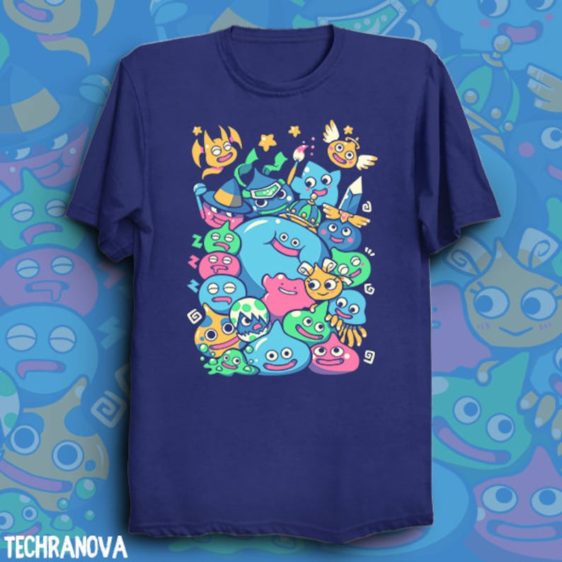 460a6d09f Slime Party Dragon Quest T-Shirt // Slimes // Mascot // | Etsy