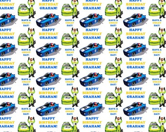 Personalised Race Cars Birthday Gift Wrap With Own Name