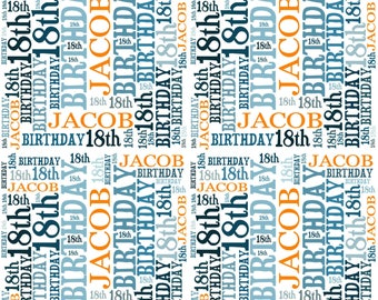 Personalised Birthday Wrapping Paper Gift Wrap With Own Name Wordart