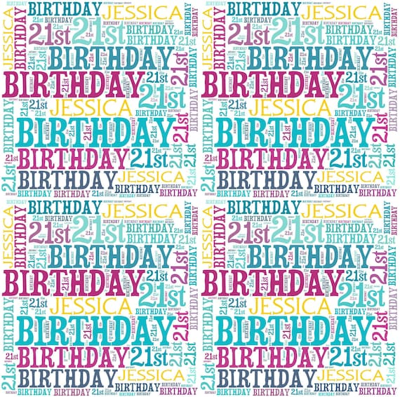 Personalised Wrapping Paper 21st Birthday Gift Wrap With Own