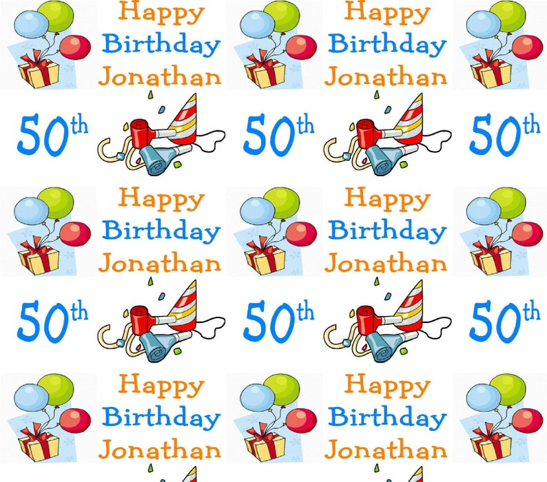 Personalised Wrapping Paper 50th Birthday Gift Wrap With Own
